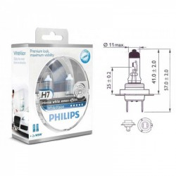 Lempučių komplektas PHILIPS  55W 12V PX26d H7 WhiteVision