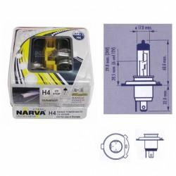 Lempučių komplektas NARVA  60/55W 12V P43t H4 Range Power White