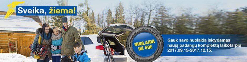 Pirk Goodyear arba Dunlop padangas ir gauk iki 50 Eur nuolaidą!